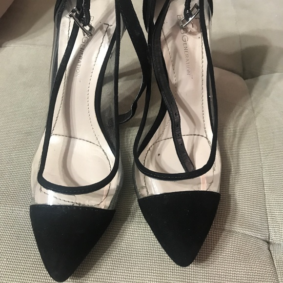 141e7a303f BCBGeneration Shoes | Bcbg Clear And Black Heels | Poshmark